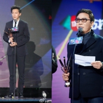 "Han Geng bat ngo cam on chu tich SM o le trao giai ""Top Chinese Music Awards"""